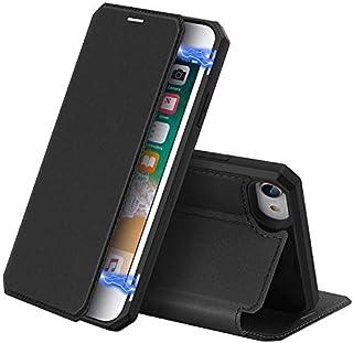 حافظة لاجهزة ابل ايفون اس اي 2020 بغطاء قابل للطي، مصنوع من الجلد ومقاوم للسقوط - لون اسود