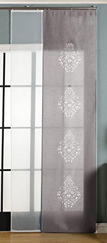Gardinenbox 2er-Pack Schiebegardine Flächenvorhang Nantes Lasercut Wildseide Optik Voile, Grau, 245x60 cm (HxB) inkl. Paneelwagen und Beschwerungsstangen, 165650