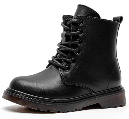 DADAWEN Boys & Girls Waterproof Outdoor Side Zipper Lace-Up Leather Winter Snow Ankle Combat Boots Black US Size 1 M Little Kid