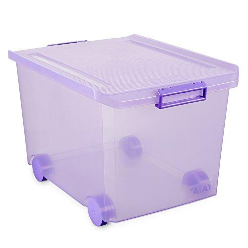 Tatay 1150313 Caja Grande de Almacenamiento Multiusos con Tapa y Ruedas, 60 l de Capacidad, Plástico Polipropileno Libre de BPA, Lila Translúcido, 40 x 56,5 x 36,2, cm