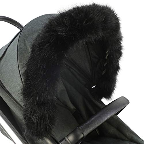 For-Your-Little-One aFHACWT-B541 Pram Fur Hood Trim Compatible On TFK Noir