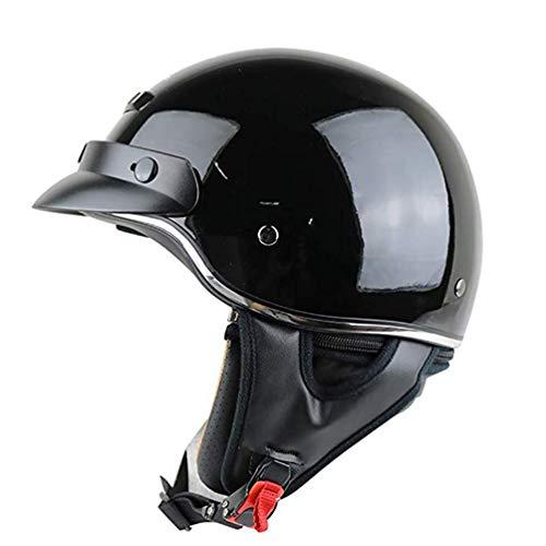 Retro geöffnete Gesichts-Motorrad-Sturzhelm, Motorrad Erwachsener Halb Helm mit Visier, Quick Release Schnalle, Personality Motorrad-Sturzhelm für Cruiser Chopper-Moped-Roller, DOT genehmigt,A,XXXL
