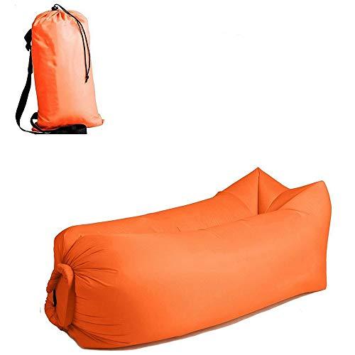 MikeyBee Canapé gonflable de camping - 3 saisons - Ultra léger - Duvet - Sac de couchage gonflable - Canapé gonflable - Chaise longue - Produits tendance 2021 (orange)