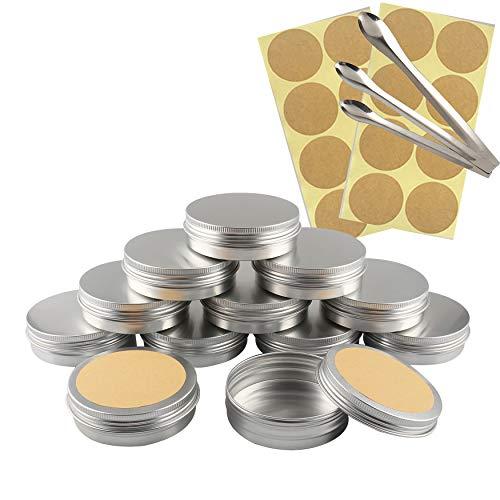TIANZD 12 Stück Leere 100 ml Rund Silber Aluminium Tins Schraubdose Cremedose Alu-Tiegel Dosen mit Schraub-Deckel 5ml Aludose Blechdosen für Kosmetik Kerze Salben 3X Löffel, 12x Etikette