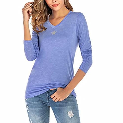ZFQQ Camiseta de Manga Larga con Estrellas de Cinco Puntas y Cuello en V Fresca y Dulce para Mujer de Primavera y Verano