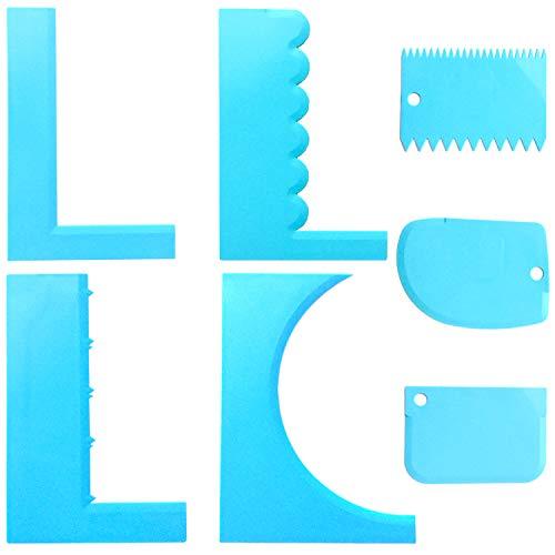 CKANDAY - Raschietto in plastica a Dente di Sega per Torte, con 3 spatole per glassa Fai da Te, per Decorazione Fai da Te, con Denti, per Fondente Crema al Burro e Crema al Burro, Colore Blu
