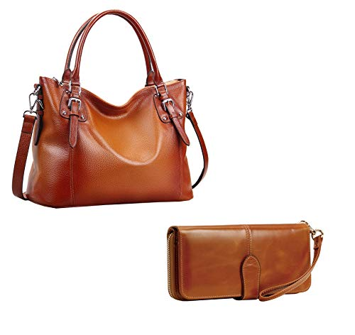 Heshe Womens Leather Handbags Shoulder Tote Bag Satchel Designer Ladies Purses Cross-body Bag and Womens Long Wallets Money Clip Card Case Holder Clutch for Ladies