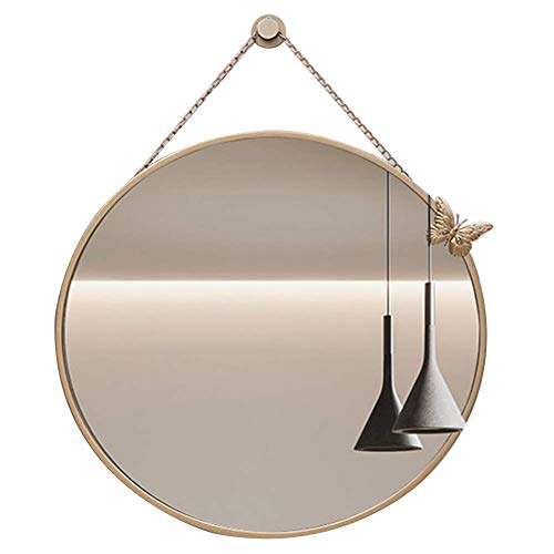 JN Make-up spiegel Spiegel Wandmontage Ultra-heldere Ketting Badkamer Eenvoudige Europese Stijl Anti-roest Circulaire Duurzame Ijzer, 2 Kleur 4 Size LED Licht Dressing Spiegel 60CM Goud