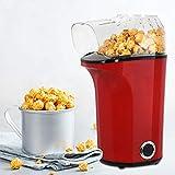 Máquina de palomitas de maíz de 1400 W para el hogar, automática, sin grasa ni aceite, tapa extraíble, sin BPA, incluye cuchara, 3 minutos