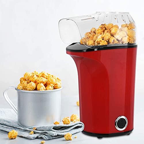 Popcornmaschine, 1400W Popcornmaschinen für Zuhause, Automatische Popcorn Maker ohne Fett & Öl, Abnehmbarem Deckel,BPA-Frei, inkl. Löffel, 3 Minuten