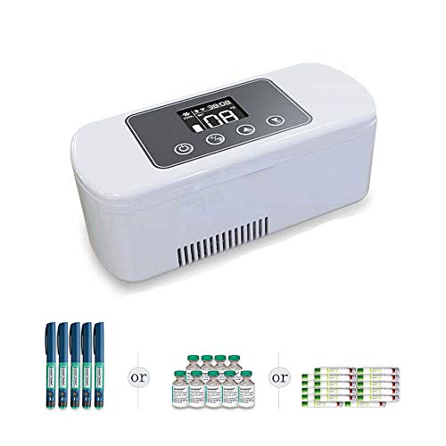 YJDQYDSH Aufladen Insulin-Kühlbox,Impfstoff Droge Transport Medizinisch Tragbar Mini-Kühlschrank,Intelligent Temperatur Hd-Display Mini Car Refrigerator Stumm/Weiß / 221x87x92mm