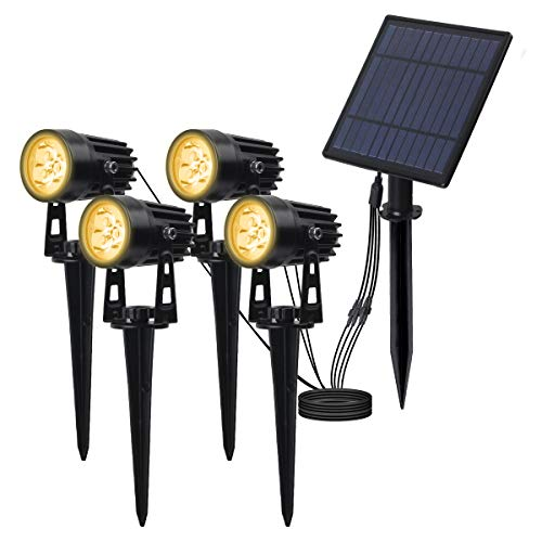 T-SUN led proyector Solar Exterior, Foco Solar led para Exterior, Blanco cálido 3000K, luz Solar con Impermeable IP65, 270 ° Ángulo Ajustable Farolas Solares.(4 Unidades)