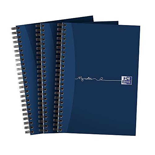 Oxford My Notes - Taccuino formato A5, rilegatura ad anelli, a righe, 200 pagine, confezione da 3 A5 Confezione da 3 Marina Militare