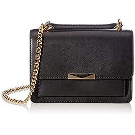 Michael Kors MICHAEL by Jade sac en cuir noir, sac à bandoulière MK, sac à bandoulière pour femme