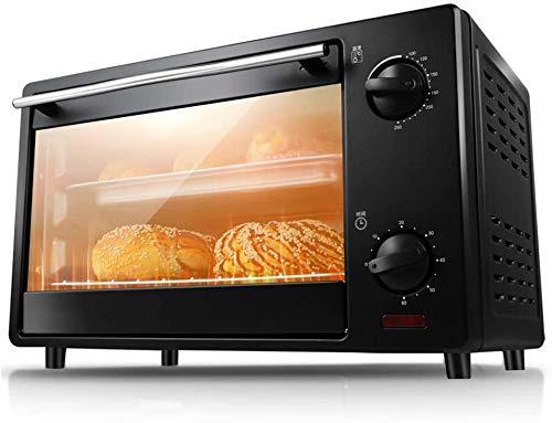 16 L Negro Mini horno multifunción función de cocción y grill temperatura ajustable 100-250 ℃ y temporizador de 60 minutos 2 niveles posición trasera 3 niveles puerta de cristal equilibrada 1360 W