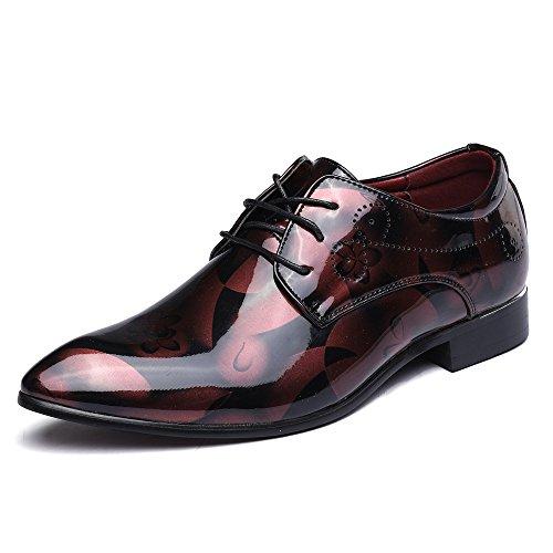 Anzugschuhe Business Herren, Lederschuhe Lackleder Hochzeit Derby Schnürhalbschuhe Oxford Smoking Schuhe Männer Leder Braun Blau Grau Rot 37-50 RD43, 43EU