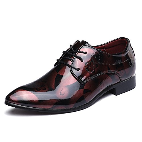 Anzugschuhe Business Herren, Lederschuhe Lackleder Hochzeit Derby Schnürhalbschuhe Oxford Smoking Schuhe Männer Leder Braun Blau Grau Rot 37-50 RD45