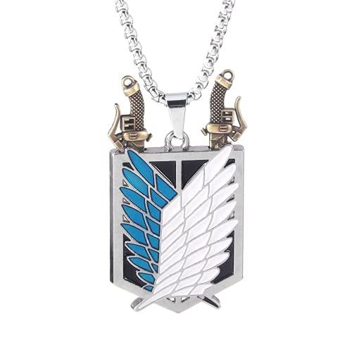 Collar con colgante de anime Attack on Titan con alas de la libertad, espada punk, para mujeres y hombres, joyería