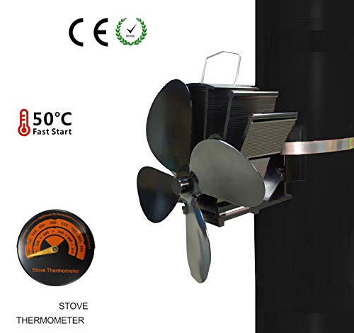 PANDA100 Heat Powered Stove Fan-2019 Upgrade Designed Silent Operation 4 Blades with Stove Thermometer for Wood/Log Burner/Fireplace-Eco Friendly and Efficient Heat Distribution (4 Blades)