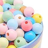 Feelairy 200 Piezas Cuentas de Madera Coloridas, Bolas de Madera 12 mm para Enhebrar Cuentas Artesanales Redondas en Color Mezclado para Pulseras de Bricolaje Joyería Artesanal