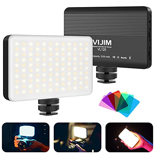 VIJIM VL120 LED Luz de video en la Cámara Bicolor 3200-6500k Mini Cámara Panel de luz Batería Recargable de 3100 mAh para todas las Cámaras y Videocámaras Dsrl Disparo Fotográfico Vlogging