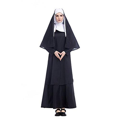 Fuman Damen Nonnenkostüm Klosterfrau Kostüm 3-TLG. schwarz-weißes Kleid mit Kopftuch und Schal