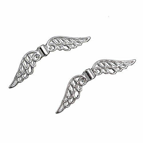Flügel Engel METALLPERLEN Engelsflügel PERLEN 32mm Metall Spacer Silber SCHMUCKTEILE BASTELN M486