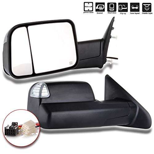 ROADFAR Towing Mirrors Compatible with 2009-2010 Dodge Ram 1500 2011-2016 Ram 1500 2500 3500 Tow Mirrors Power Heated Turn Signal Puddle Light Black Housing