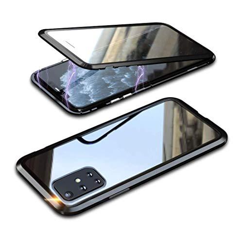 Funda para Samsung Galaxy A52 5G 360° cubierta magnética, cristal templado de doble cara transparente con parachoques de metal a prueba de golpes, diseño de una sola pieza, color negro