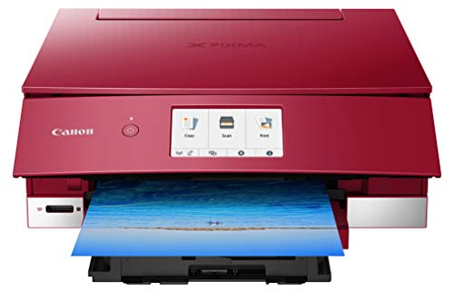 Canon TS8220 Wireless All in One Photo Printer with Scannier and Copier, Mobile Printing, Red, Amazon Dash Replenishment Ready
