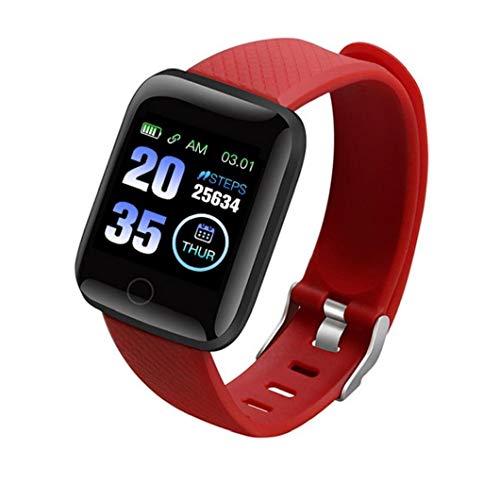 Pulsera inteligente inteligente Reloj Bluetooth 116Plus teléfono reloj de la aptitud de prueba de la presión arterial impermeable Hombres Mujeres Rojo