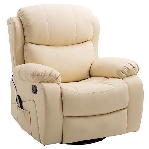 OMCOM Poltrona Relax con 8 Punti Massaggianti e Riscaldamento, Reclinabile con Poggiapiedi, 88.5x98.5X105cm Ecopelle Beige