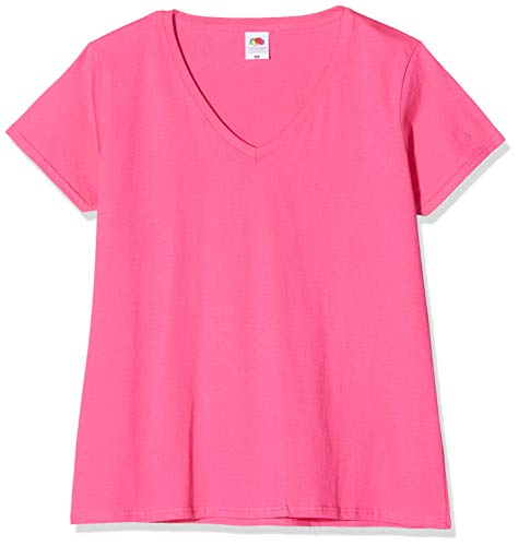 Fruit of the Loom Damen T-Shirt Valueweight V Neck Lady-fit, Rosa (Fuschia), X-Large