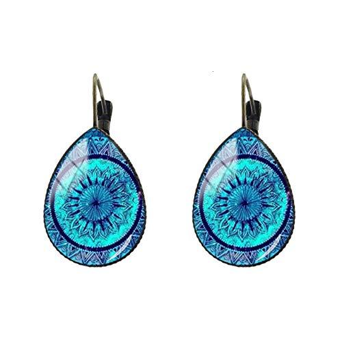 Pendientes de clip con diseño de mandala, lágrima, gota de agua, para yoga, Ohm, budismo, joyería Zen para mujer