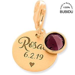 Charm Anhänger rosegold mit Gravur ❤️ 925 Silber Charms mit Namen personalisiert Geschenk Geburt ❤️ Geburtsstein Herz…