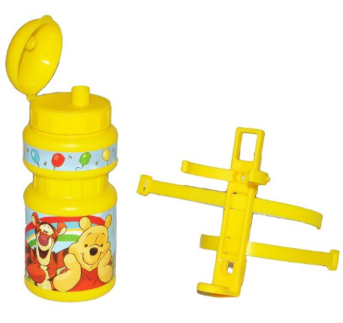 alles-meine.de GmbH Fahrradtrinkflasche Winnie The Pooh mit Halterung - Halter Fahrradflasche Trinkflasche für Kinder Fahrrad Roller Dreirad