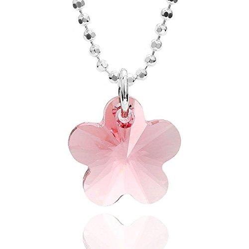 butterfly Bambine Ragazze Collana Argento 925 Swarovski Elements Originali Ciondolo Fiore Rosa Lunghezza Regolabile Sacchetto per Gioielli Regalo di Conferma
