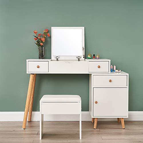 Moderna mesa de cosméticos abatible espejo de almacenamiento, tocador con 3 cajones, 1 taburete y mesita de noche para un amplio almacenamiento, color blanco