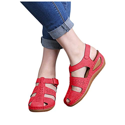 Best Buy! Dainzusyful Women's Comfortable Wedge Sandals Cut Out Summer Athletic Gladiator Sandals Lo...