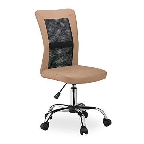 Relaxdays Bürostuhl, höhenverstellbarer Drehstuhl, ergonomisch, bequem, 90 kg belastbar, HxBxT: 102 x 55 x 55 cm, braun, 1 Stück