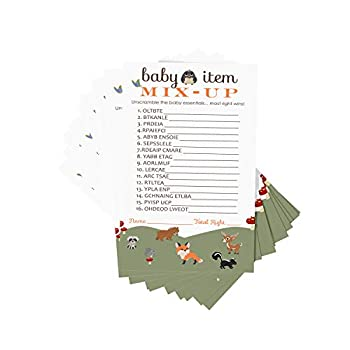 Woodland Word Scramble Game Pack  25 Cards  Baby Shower Games - Unscramble Guessing Activity Gender Reveal – Rustic Forest Animal Event Supplies – Boy or Girl  4 x 6 Inches  Paper Clever Party