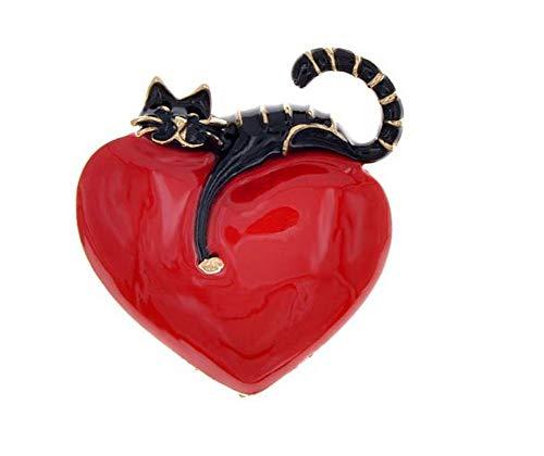 Broche con diseño de gato en corazón rojo, acero esmaltado.