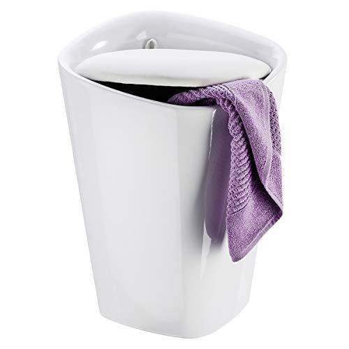 WENKO Hocker Candy eckig White, mit Wäschesack - Badhocker, mit abnehmbarem Wäschesack Fassungsvermögen: 20 l, Kunststoff (ABS), 35 x 50 x 35 cm, Weiß