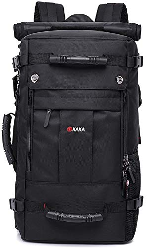 KAKA Travel Backpack,Carry-On Bag Water Resistant Flight Approved Weekender Duffle Backpack Rucksack Daypack for Men Women (black)