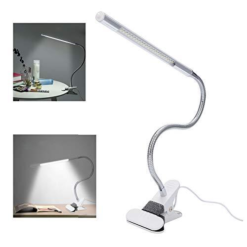 Lámpara LED de escritorio, lámpara de mesa de lectura con clip flexible, cuello flexible, interfaz USB