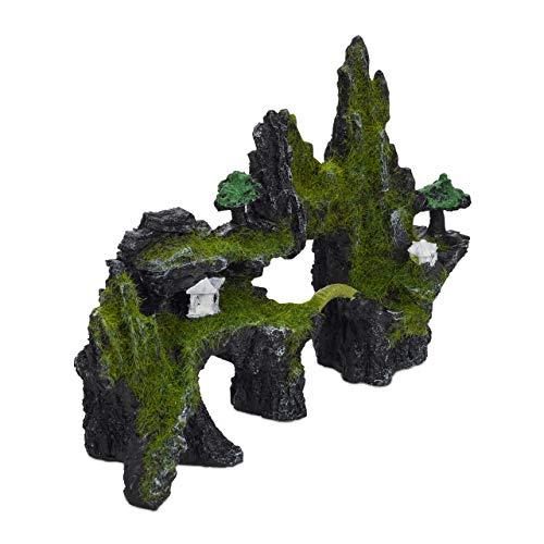 Relaxdays Decoración Acuario Roca, Estilo Japonés, Piedra, Escondite Peces, Poliresina, 1 Ud, 17 x 23,5 cm, Negro-Verde