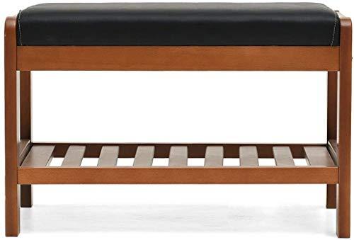 Taburete de dormitorio Cambiar zapatillas de taburete Taburete Taburete tapizado para el reposapiés Almacenamiento de madera Pasillo a...