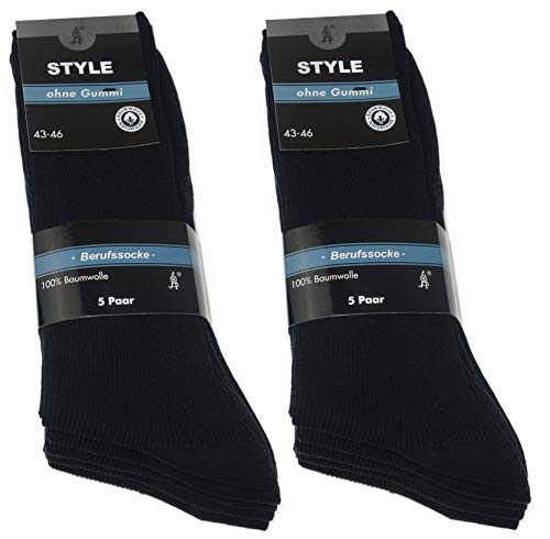 STYLE 10 Paar Herren Socken Berufssocken 100prozent Baumwolle Kellnersocken Schwarz Sonderangebot (43-46, Schwarz 10 Paar)