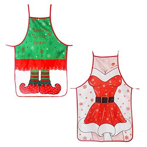 Kreative Weihnachtsschürze Weihnachten Elf Schürze Weihnachtsmann Schürze Dekoration Weihnachten Verstellbare Schürze Set Für Weihnachts Hausmannskost Schürze Restaurant Kellner Kostüm 2 Stücke