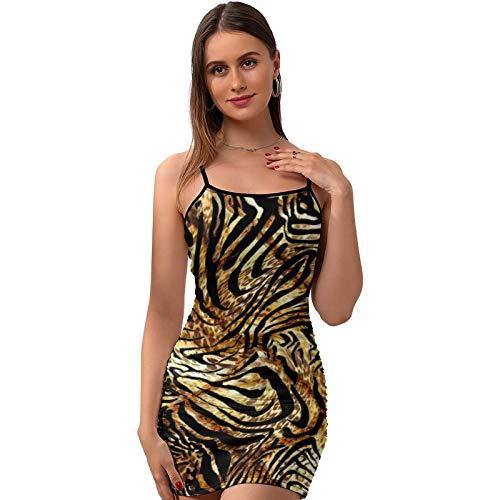 Vestido de mujer Sexy Slip Estampado Animal sin mangas Vestidos sin espalda Sling Dress - X439